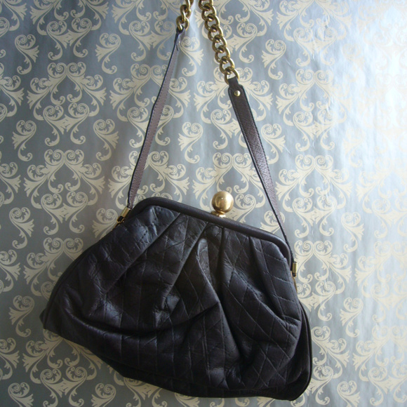 827edad797 Sabina New York Brown Leather Frame Purse- Quilted